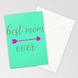 Best Mom Ever - Mint and Hot Pink Stationery Cards