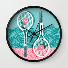 Good to go - memphis throwback 1980s neon pastel abstract sports tennis racquetball athlete game  Wall Clock