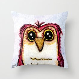 Owl at Rest - Watercolor Throw Pillow