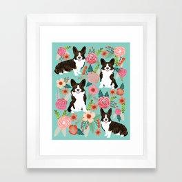 Brindle Cardigan Corgi Florals - cute corgi design, corgi owners will love this mint florals corgi Framed Art Print