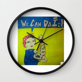 Modern Rosie the Riveter Wall Clock