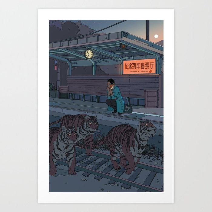 Tiger Station Kunstdrucke