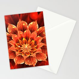 Red Dahlia Fractal Flower with Beautiful Bokeh (Vivid Crimson) Stationery Cards