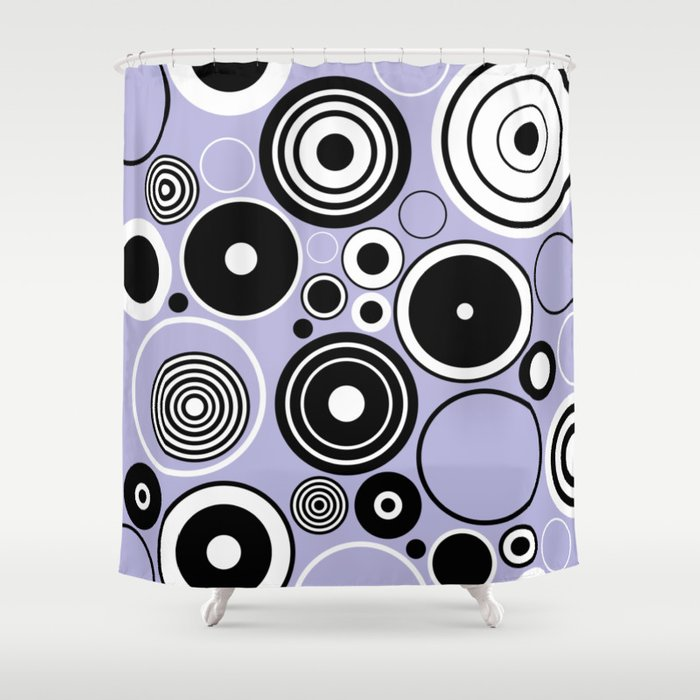 Geometric black and white circles on pastel blue Shower Curtain by ...
