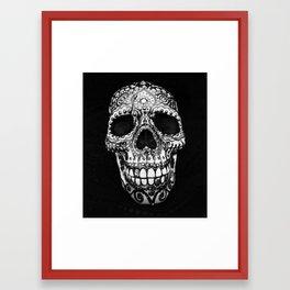 Dia de los Muertos Painted Skull print, black and white Framed Art Print
