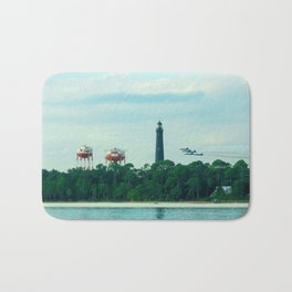 Blue Angels Practicing by Lighthouse, Water Towers, Ocean Bath Mat