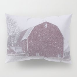 Red Barn in a Snowstorm Pillow Sham
