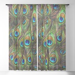 Peacock Feathers Invasion - Wave Sheer Curtain