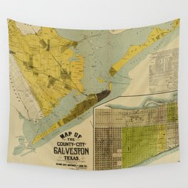 Vintage Map of Galveston Texas (1891) Wall Tapestry