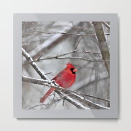Quiet Time in the Snowy Woods Metal Print