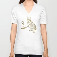 cooking V-neck T-shirts featuring Cooking Owl by October's Very Own