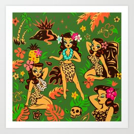 Tiki Temptress on Green Art Print