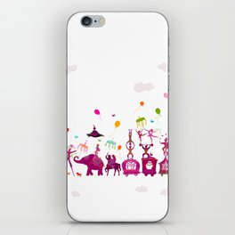 colorful circus carnival traveling in one row on white background iPhone Skin