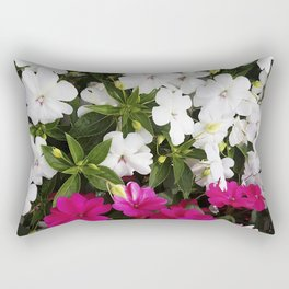 Patient Impatiens - Deep Pink and Sparkling White Rectangular Pillow