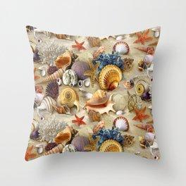 Fancy Seashells And Starfish Throw Pillow
