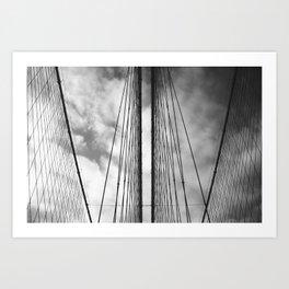 New York - Brooklyn Bridge, Black and White Art Print