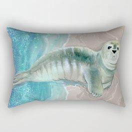 Gray Seal Where the Ocean Meets the Sand Rectangular Pillow