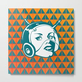Faces: SciFi lady on a teal and orange pattern background Metal Print