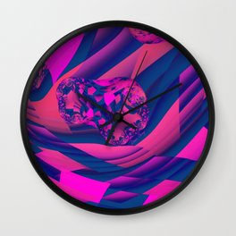Creating Worlds – Abstract Magenta & Sapphire Magic Wall Clock