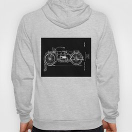 1919 Motorcycle Patent Black White Hoody