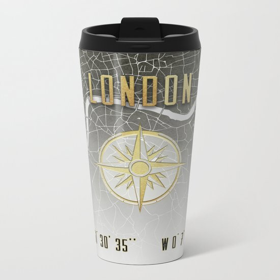 London - Vintage Map and Location Metal Travel Mug