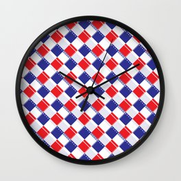 Stars and Stripes Plaid  Wall Clock