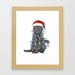 Cute Santa Cat Tangled Up In Lights Christmas Santa Design Framed Art Print