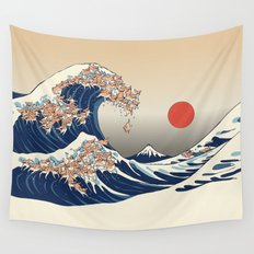 The Great Wave of Chihuahua Wall Tapestry