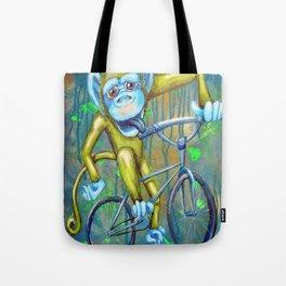 Bicycling Monkey Tote Bag