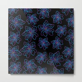 Outlined big purple and blue flowers Metal Print