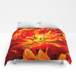 Macro view of red tulips Comforters