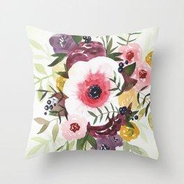 Burgundy Blush Watercolor Floral Throw Pillow