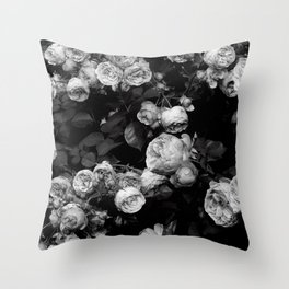 Roses are black and white Throw Pillow