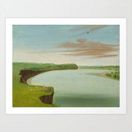 George Catlin - Distant View of the Mandan Village Art Print