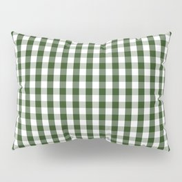Dark Forest Green and White Gingham Check Pillow Sham