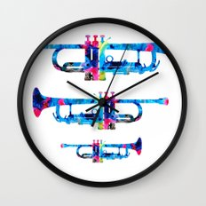 Colorful Trumpet 2 Art By Sharon Cummings Wall Clock
