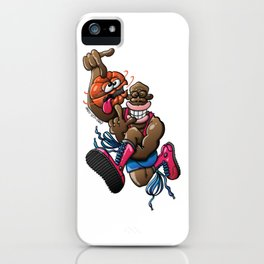 Basketball player high jumping while spinning a dizzy ball iPhone Case