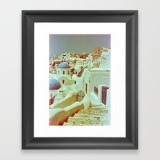 Santorini in Raspberry and Blue II: shot using Revolog 600nm special effects film Framed Art Print