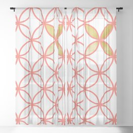 Living Coral circle pattern Sheer Curtain
