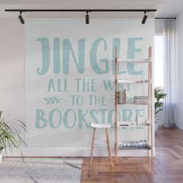 Jingle All The Way To The Bookstore (Blue) Wall Mural