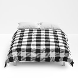 90's Buffalo Check Plaid in Black and White Comforters