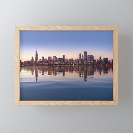 Panorama of Chicago at Sunset Framed Mini Art Print