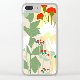 Illustration, modern flowers, bold colors,red, turquoise, white,green. Clear iPhone Case