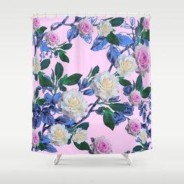 CLIMBING WHITE & PINK ROSES GARDEN PATTERN ART Shower Curtain