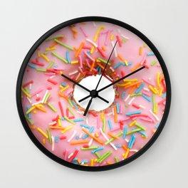 Single pink donut Wall Clock