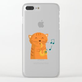 Jazz Cat Clear iPhone Case