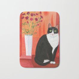 Cat with Carnations Bath Mat