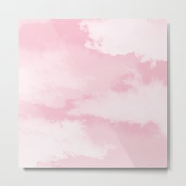 Girly blush pink white pastel color modern clouds pattern Metal Print