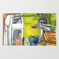 vw bus Area & Throw Rugs featuring VW Bus Campsite by Barb Laskey Studio