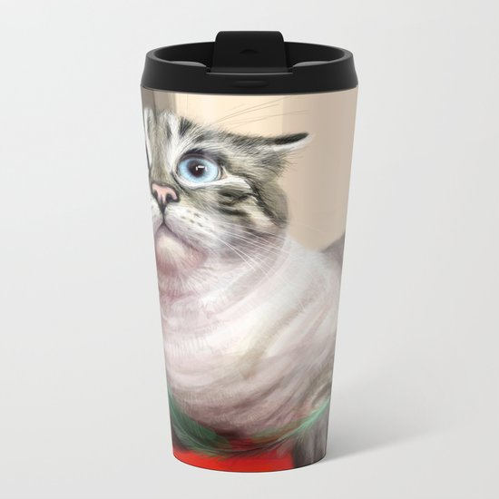 Cat Surprised Funny Animals with Feather Siamese Lynx-Point Metal Travel Mug